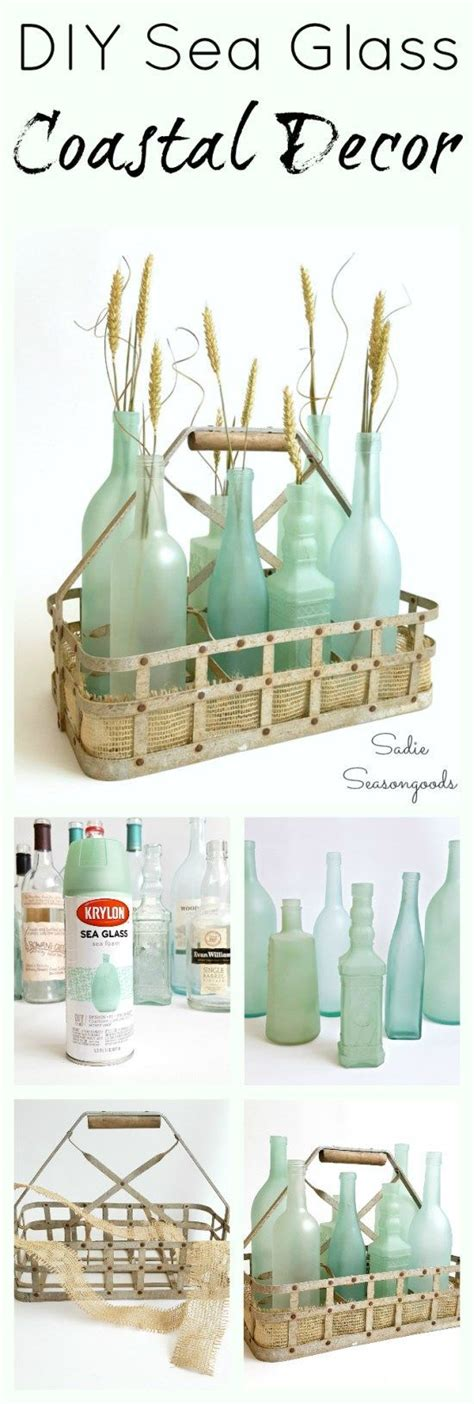 diy coastal decor is as easy as raiding your recycling bin and repurposing your glass