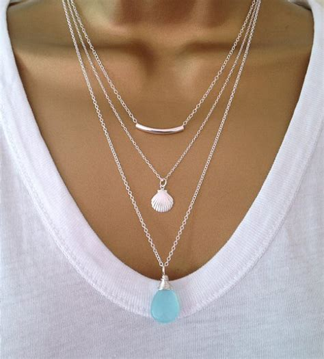 3 silver layering necklaces uk shop mothers day gift birthday
