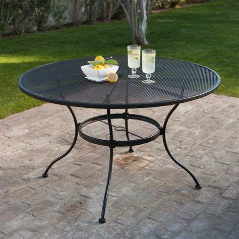 Black Patio Table Woodard Stanton 48 In Wrought Iron Patio Dining Table Textured Black Patio Dining
