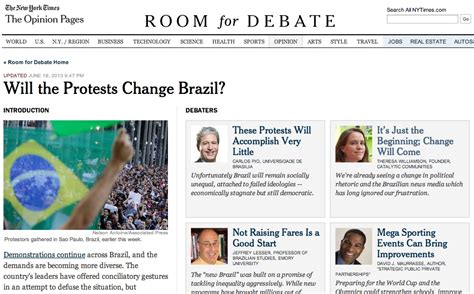 ny times room for debate our opinion on brazil protests in new york times debate forum catalytic communities