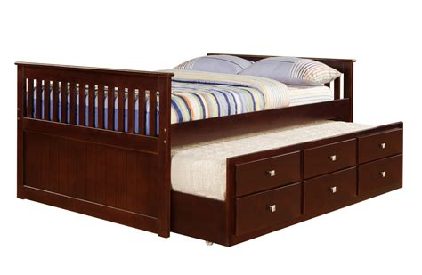 bed trundle donco cappuccino full captains bed with trundle and
