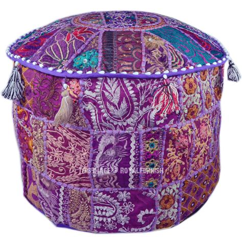 Handmade Ottoman - purple indian handmade ottoman pouf stool floor