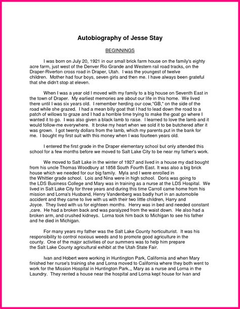 Autobiography Essays by My Autobiography Essay Exles An Exle Of An Autobiography Autobiography Essay