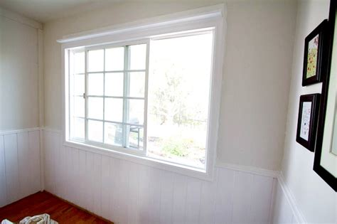 White Wainscoting With Wood Trim painting wood trim