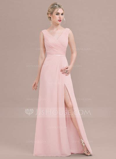 A Line/Princess V neck Floor Length Chiffon Bridesmaid
