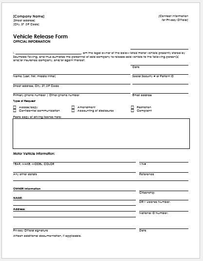 vehicle release form registration form emporia flatland