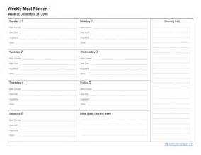 Weekly Dinner Planner Template Gallery For Gt Printable Weekly Dinner Planner Template