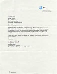 Thank you letter from executive ground transpor t ation and travel