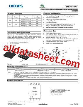 diodes incorporated bcd dmc1015upd 13 datasheet pdf diodes incorporated