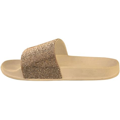 sparkly slippers for womens slip on sliders flat sparkly diamante bling