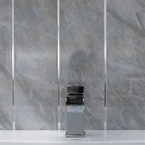 bathroom with paneling grey marble travertine with without chrome strip bathroom cladding panels ebay