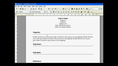 create a building create a resume in open office youtube