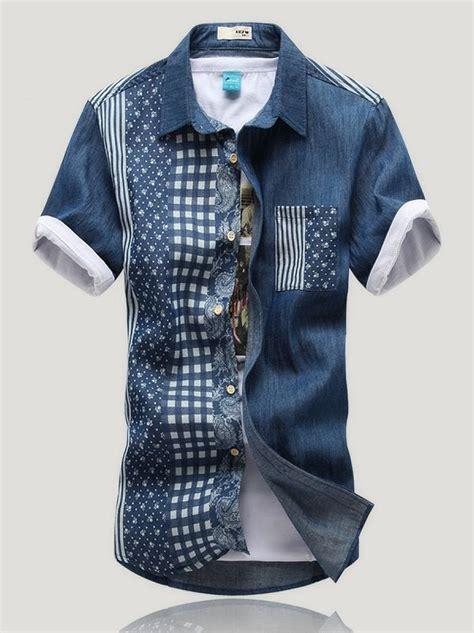 Small Polka Mix Shirt vogued small polka dots sleeve denim shirt