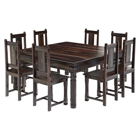 Dining Table Chair Set Rustic Solid Wood Large Square Dining Table Chair Set Furniture Ebay