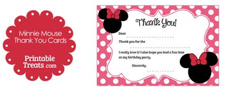 minnie mouse thank you cards template printable minnie mouse thank you cards printable treats