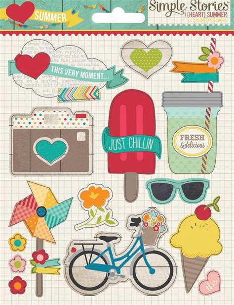 outdoor printable sticker paper simple stories i heart summer collection layered