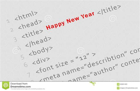 codes for friend of new year printed html code for happy new year stock photo image 60061403