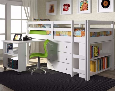 Twin Loft Bed With Desk And Storage White Fun Rooms White Loft Bed With Desk And Storage