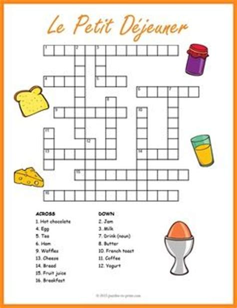easy crossword puzzles in french french breakfast vocabulary crossword le petit d 233 jeuner