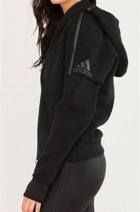 Jaket Sweater Hoodies Ziper Adidas adidas zippered hoodie with thumb holes in black