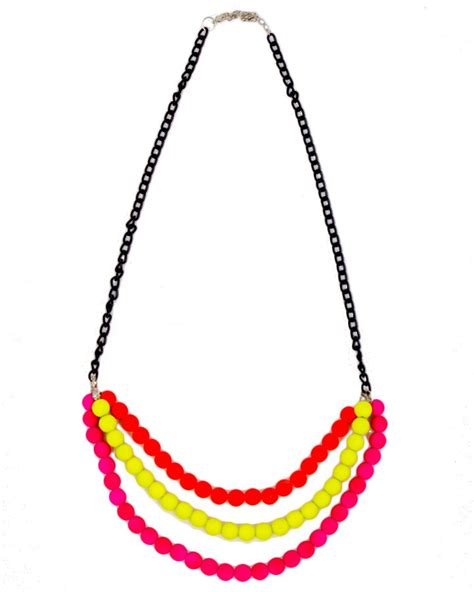 three layer neon beaded necklace accessories