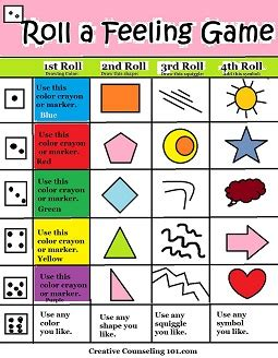 Printable Art Games | art therapy roll a feelings game with free art therapy