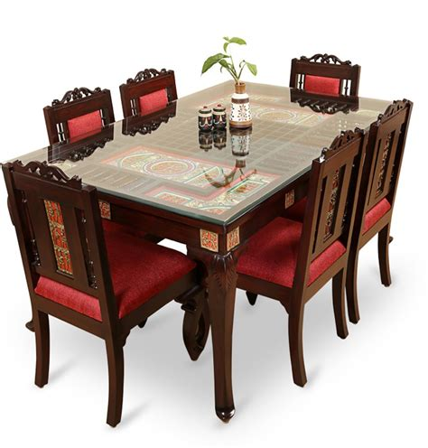 Solid Wood 6 Seater Dining Set Buy Solid Wood 6 Seater Dining Set At Best Prices In Exclusivelane Teak Wood Solid Wood 6 Seater Dining Set Price In India Buy Exclusivelane Teak