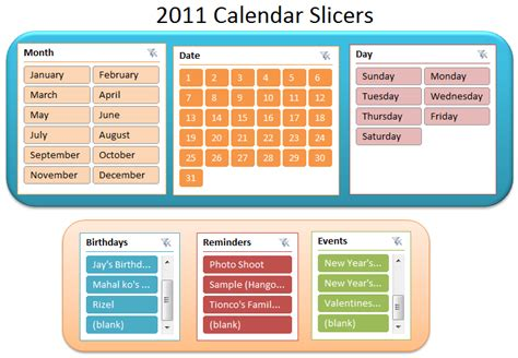 2011 calendar slicers the powerpoint alchemist