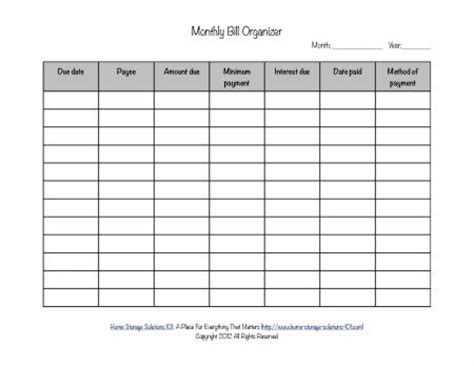 Calendar Organiser Printable Monthly Bill Organizer To Make Sure You Pay