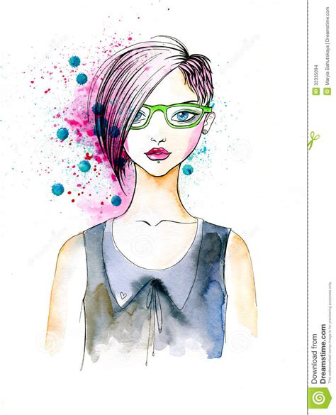 hairstyles watercolor watercolor portrait of hipster girl stock illustration