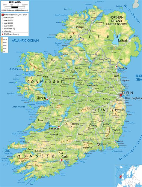 map ireland physical map of ireland ezilon maps