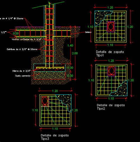 structural concrete column  footing dwg plan