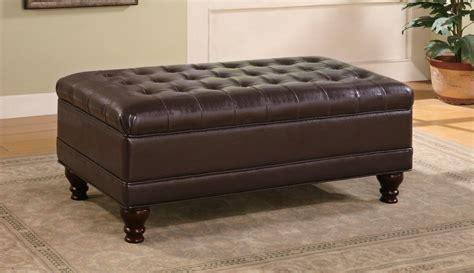 brown leather ottoman coffee table tufted ottoman storage dark brown bonded leather bench