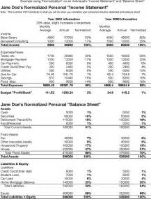 personal income statement and balance sheet template the sle balance sheet and income statement excel can