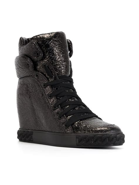 high top wedge sneakers casadei hi top wedge sneakers in black lyst