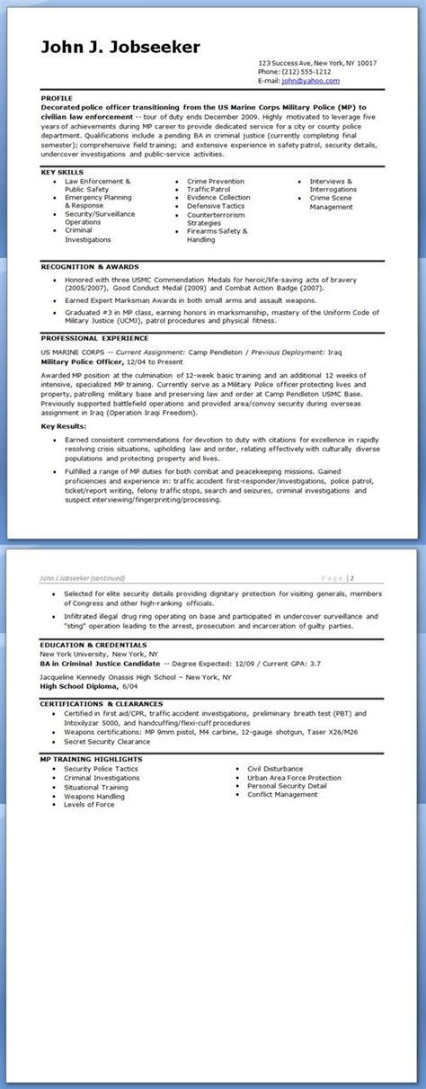 best ideas of military police officer resume sample about format
