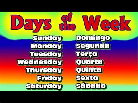 traduzir em ingles decorar dias da semana em ingles days of the week in english