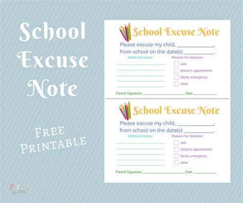Excuse Letter For Going Somewhere school excuse note free printable fyi by tina