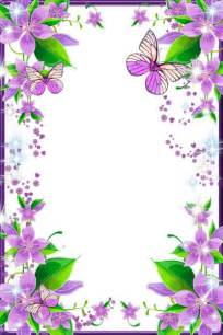 Light purple flowers and butterflies transparent png photo frame more