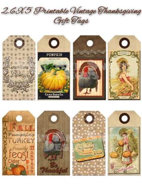 printable gift tags for thanksgiving printable vintage thanksgiving gift tags by