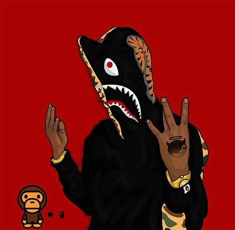 pin  annalisa hackett  hip hop bape shark dark