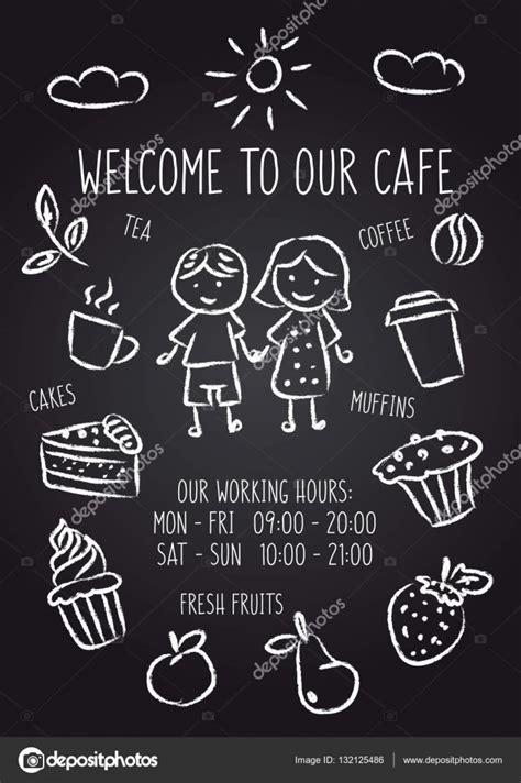 Welcome To Cafe welkom op onze caf 233 schoolbord poster stockvector