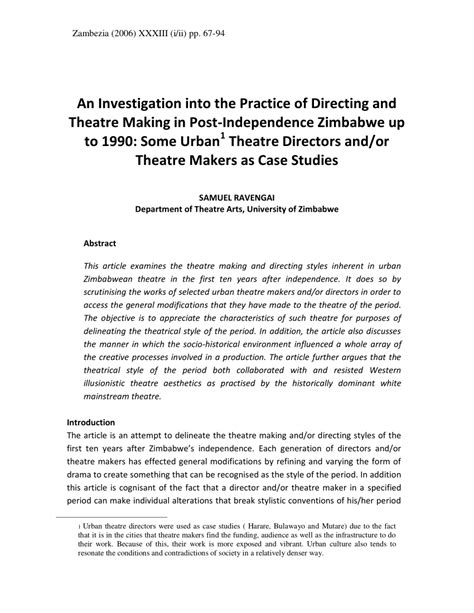 (PDF) An Investigation into the Practice of Directing and
