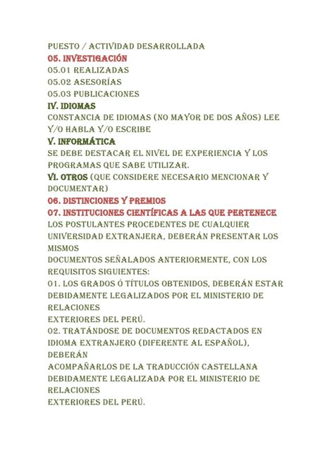 Modelo De Curriculum Vitae Peru Ministerio De Trabajo Modelo Curriculum Vitae