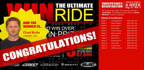 Motosport Ultimate Ride Giveaway - and the ultimate ride giveaway winner is motosport