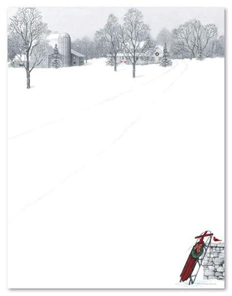 printable farm stationary holiday stationery letterhead winter scene sled 21338