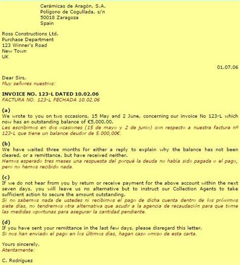 modelos de cartas de reclamacion de facturas idiomas empresa carta de reclamaci 243 n de pago