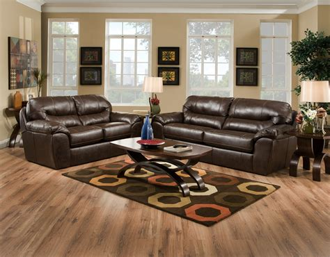 leather and fabric living room sets brantley java brown leather like fabric casual living room sofa set