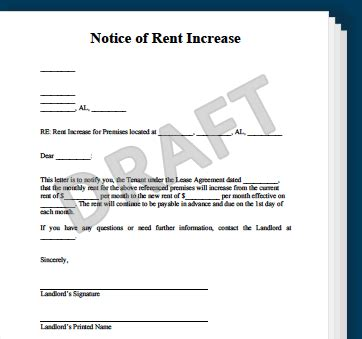 Rent Increase Letter Montreal Notice Of Rent Increase Create A Rent Increase Notice