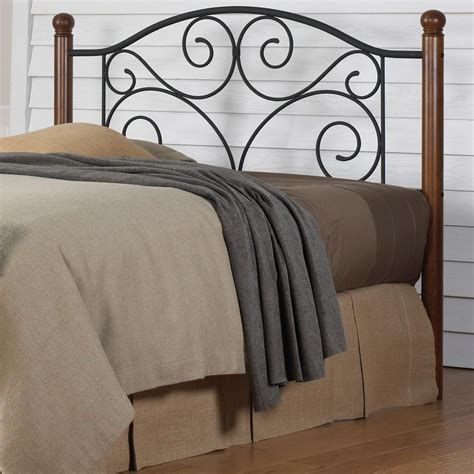 Black Wood King Size Headboard by Fashion Bed Doral King Size Headboard With Walnut Wood Posts And Metal Grill In Matte